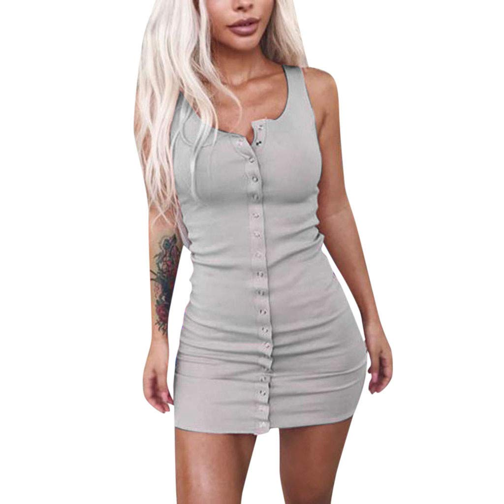 FENZL Womens Summer Casual Fashion Slim Sleeveless Solid Knit Single-Breasted Dress