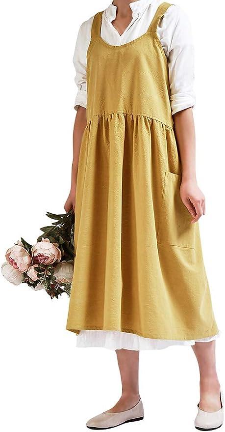 Cottagecore Clothing, Soft Aesthetic Nanxson Women Cotton Linen Apron with 2 Pockets for CookingBakingCraftingGardeningFlower Arrangement CF3088  AT vintagedancer.com