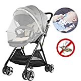 Xeababy Baby Mosquito Net Infant Insect Netting, Zippered Baby Canopy Mosquito Net and Baby Stroller Mosquito Net with PE Strip Stand, Fits 99% Baby Stroller (Grey)