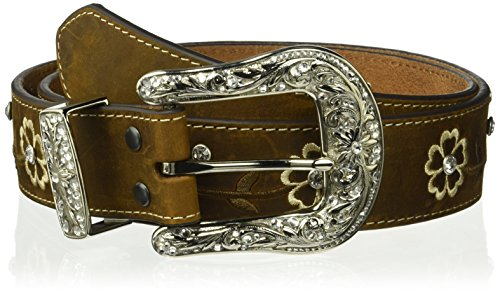 Ariat Women's Floral Stitch Berry Concho Belt, Brown, (Brown Concho)