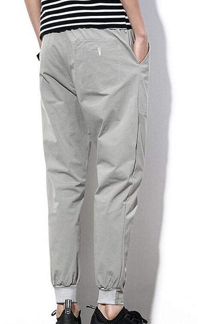 UUYUK Men Leisure Harem Pure Color Pockets Autumn Student Tenths Pants
