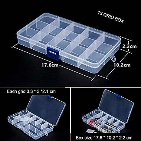 Claire Set of 3 Snowkingdom Bo/îte de Rangement en Plastique Transparent avec Compartiments r/églables Plastique