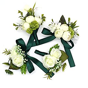 Hozhang Wedding Corsages and Bride Groom Wrist Decoration Dark Green Flower Brooch Flower Bouquet 32