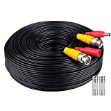 WildHD 200ft Bnc Cable All-in-One Siamese Video and Power Security Camera Cable, Extension Wire Cord with 2 Female Connetors for All HD CCTV DVR Surveillance System (200ft Cable, Black)