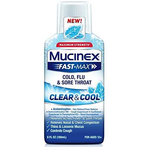 Mucinex Fast-Max Clear & Cool Cold, Flu, & Sore Throat Liquid, 6oz (The Best Over The Counter Medicine For Sore Throat)