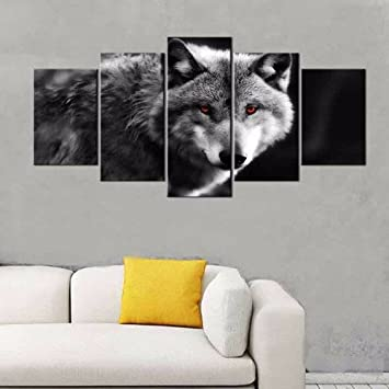 5 Stück Tier Rote Augen Wolf Leinwand Malerei Moderne Wölfe Schwarze Wand  Kunst Bild Für Wohnzimmer