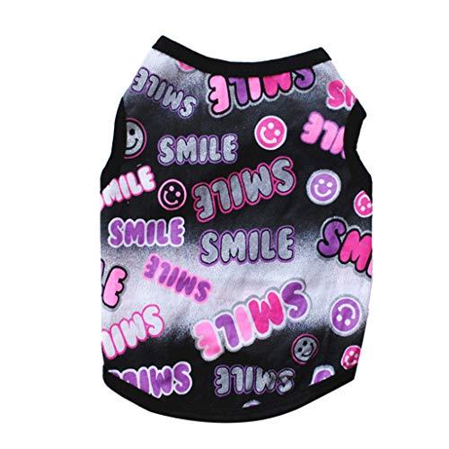 WM & MW-Pet Shirts Super Cute Puppy T Shirt Smile Printed Dogs Summer Vest Costumes Cat Tank Top(Black,S) ()