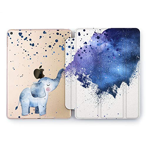 Wonder Wild Space Elephant Print Case IPad 9.7 2017 A1822 A1823 2018 A1893 A1954 Air 2 A1566 A1567 6th Gen Clear Design Smart Hard Cover Little Blue Kids Cosmic Dreaming -