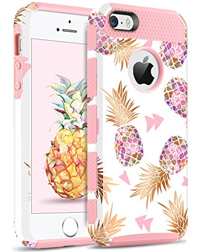 BENTOBEN iPhone 5S Case, iPhone SE Case, iPhone 5 Case, BENTOBEN Pineapple Design Hard PC Soft Rubber Glossy Anti-Scratch Shockproof Protective Cell Phone Case for Apple iPhone SE 5S 5, Rose Gold/Pink
