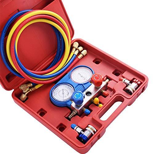 zwan A/C Gauge Set Refrigeration Kit Brass Auto Serivice Kit with Ebook