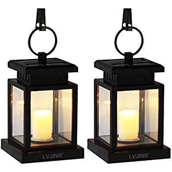 [2 Pack]LVJING Solar Lantern Vintage Waterproof Flicker Led Candle Lights with Cl& Warm  sc 1 st  Amazon.com & Amazon.com : Mabor Solar Lantern Waterproof Outdoor Hanging ...