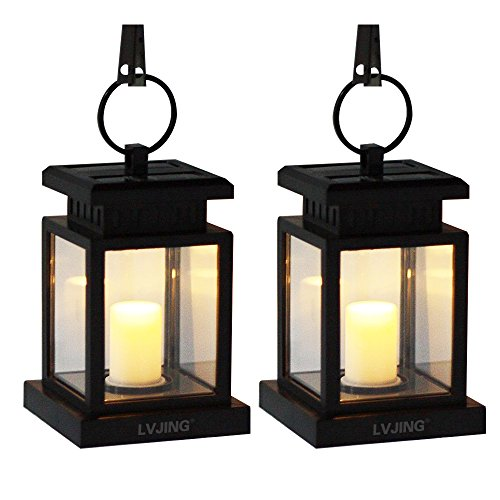 LVJING Solar Lights Outdoor Hanging Lantern 2 Pack, Solar Powered Led Lights with Clamp for Garden Patio Path Fence Decor, Vintage Candle Flicker Effect, Warm White, Auto Sensor On Off