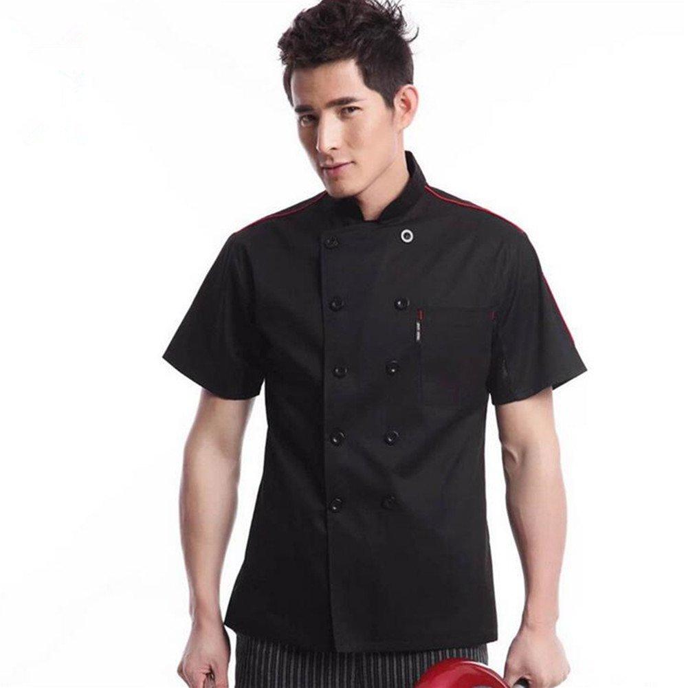 WAIWAIZUI Chef Jackets Waiter Coat Short Sleeves Underarm Mesh Size L (Label:XXL) Black