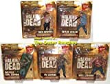 The Walking Dead Series Two 2 Action Figures Set of 5 (Green Box) Shane Walsh, Deputy Rick Grimes, RV Zombie, Bicycle Girl Zombie and Well Zombie