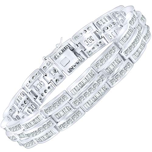 - Men's Sterling Silver .925 Bracelet with 244 Fancy Baguette and Elegant Round Cubic Zirconia (CZ) Stones, All Channel Set, Box Lock, Platinum Plated 8