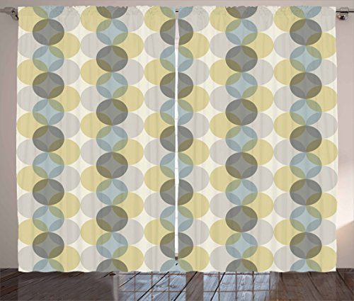 Circle Curtains by Lunarable, Flower of Life Design Vintage Fifties Midcentury Atomic Art Movement Inspired, Living Room Bedroom Window Drapes 2 Panel Set, Grey Sephia Beige 51tWqZWWhCL