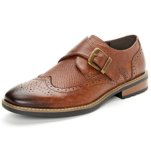 Mens Monk Strap Dress Shoes Wingtip Plaine Toe Single Buckle Slip on Loafer Brown 11