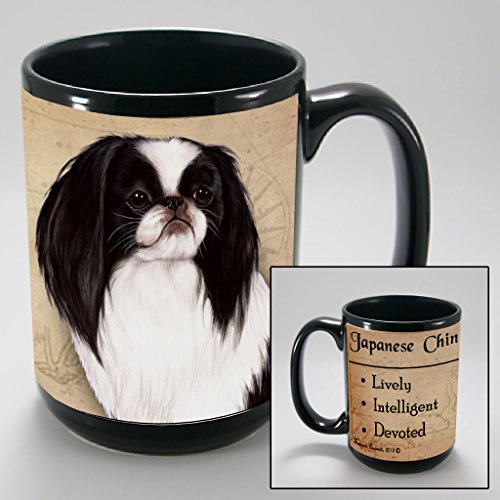 Dog Breeds (A-K) Japanese Chin, Black and White 15-oz Coffee Mug Bundle with Non-Negotiable K-Nine Cash by Imprints Plus (102)