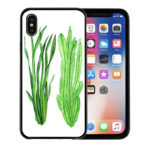 (Emvency Phone Case for Apple iPhone Xs Case/iPhone X Case,Sea Watercolor Seaweed Green Leaves Closeup White Hand Painting Soft Rubber Border Decorative, Black)