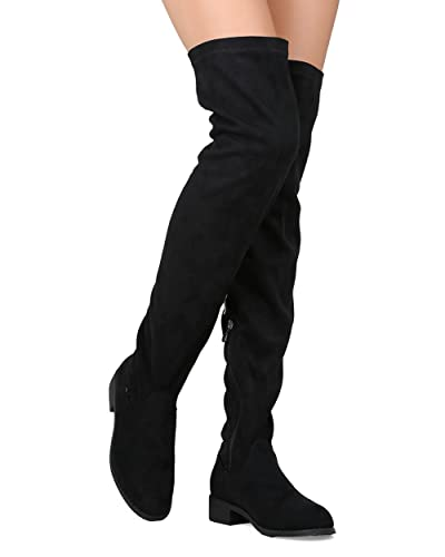1e09e94ef98 Nature Breeze Olympia 20 Womens Stretchy Thigh High Side Zipper Low Heel  Combat Boots Black 6.5