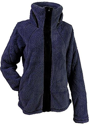 Couture Leather Jackets - Apparel No. 5 Women's Sherpa Fleece Full Zip Warm Winter Jacket (Large, Navy Blue)