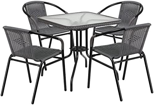 Flash Furniture 28 Square Glass Metal Table with Gray Rattan Edging and 4 Gray Rattan Stack Chairs