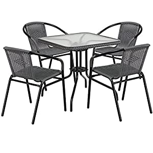 "Flash Furniture 28"" Square Glass Metal Table with Rattan Edging and 4 Black Rattan Stack Chairs"