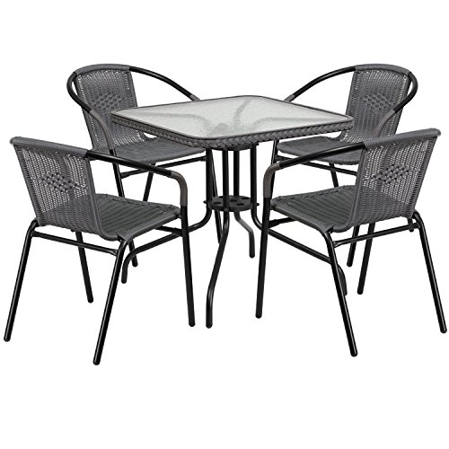 Flash Furniture 28'' Square Glass Metal Table with Gray Rattan Edging and 4 Gray Rattan Stack Chairs (Set Dining Room Chairs With Rattan)