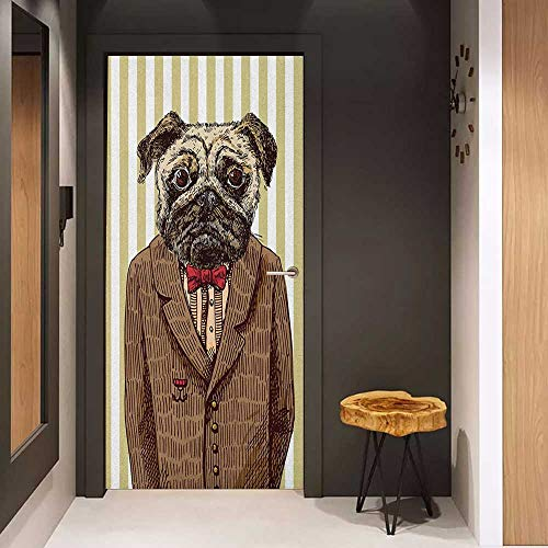 Onefzc Door Sticker Mural Pug Hand Drawn Sketch of Smart Dressed Dog Jacket Shirt Bow Suit Striped Background WallStickers W35.4 x H78.7 Brown Pale Brown