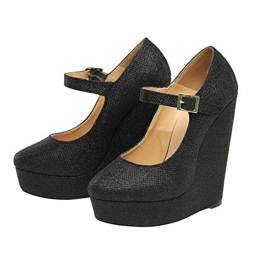 fereshte Women's Men's Fashion Wedge Super High Heel Ankle Buckle Pumps Black MuvRw