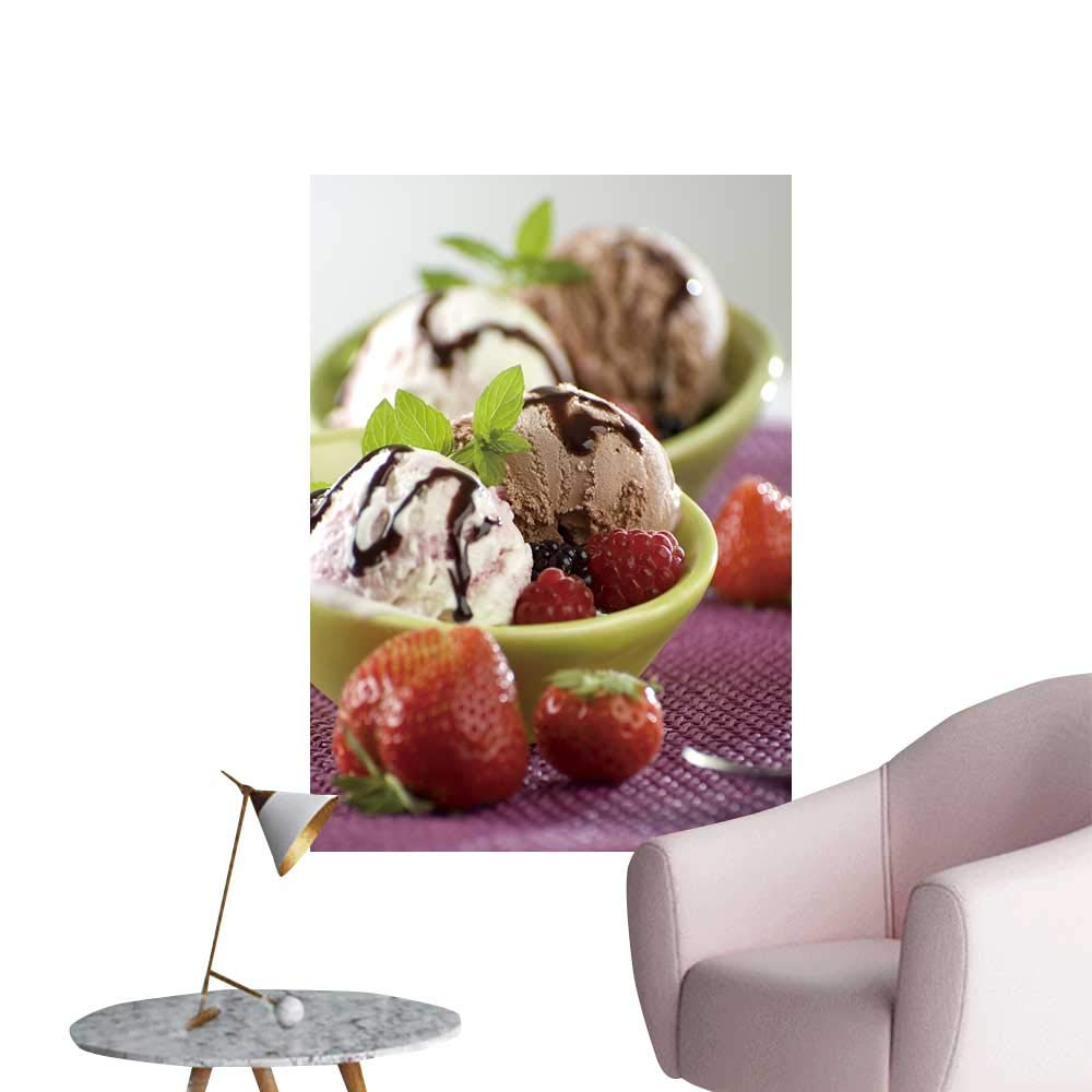 "SeptSonne Vinyl Artwork Yogurt Chocolate ice Cream in a Bowl Easy to Peel Easy to Stick,28"" W x 48"" L"