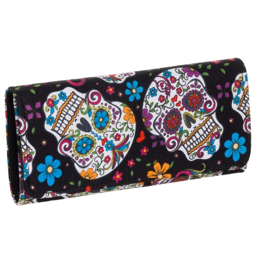 & Flower Tri Fold Clutch Wallet (Black/Multi) (Black Skull Tri Fold Wallet)