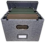 Collapsible file box file organizer with lid - 1 pack - Charcoal grey
