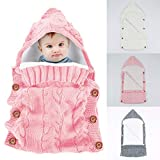 Newborn Baby Swaddle Blanket Wrap Sleeping Bags,Yinuoday Infant Toddler Thick Warm Fleece Knitted Crochet Hooded Swaddle Wrap Sleep Sack Crib Stroller Wrap for 0-12 Month New Update Design (Pink)