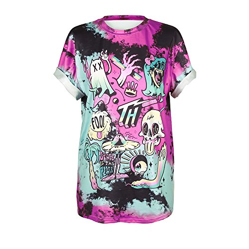 - MHOTCIG Fashion Couple Tops Women Summer Casual T Shirt Punk Sleeve Printed T-Shirts,T-010,Medium