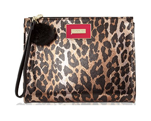 Betsey Johnson T-Bottom Wristlet Cosmetic Case Pouch Accessory Evening Clutch - Cheetah (Bag Pouch Evening Metallic)