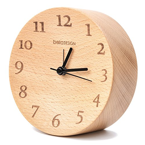 belaDESIGN Wood Square Silent Table Alarm Clock Classic Vintage Elegant for Home Decoration Bedroom Office (088)