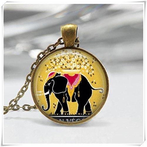 (Elephant Necklace, Vintage Perfume Label Good Luck Art Pendant , Bronze or Silver)