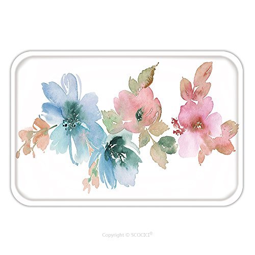 Flannel Microfiber Non-slip Rubber Backing Soft Absorbent Doormat Mat Rug Carpet Flowers Watercolor Illustration Manual Composition Mother S Day Wedding Birthday Easter 403107850 for Indoor/Outdoor/Ba