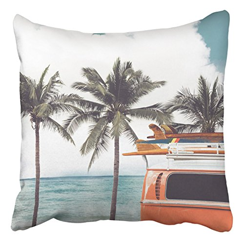 (Emvency Throw Pillow Covers Vintage Car Parked On The Tropical Beach Seaside A Surfboard Decor Pillowcases Polyester 16 X 16 Inch Square Hidden Zipper Home Cushion Decorative Pillowcase)