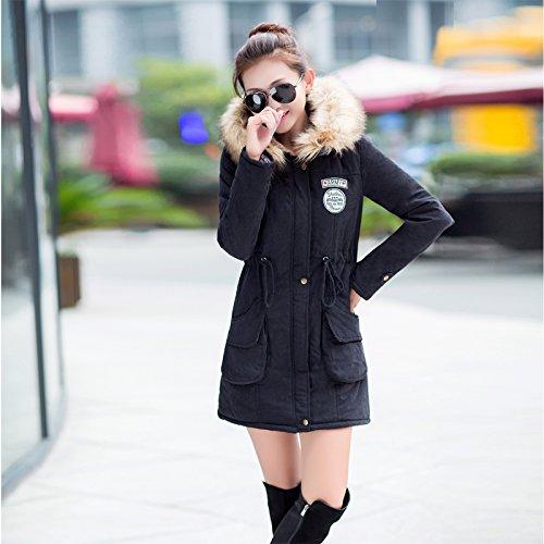 Aro Lora Women's Winter Warm Faux Fur Hooded Cotton-padded Coat Parka Long Jacket US 14 Black by Aro Lora (Image #2)