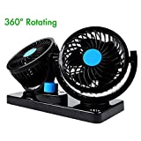 Dual Head 12V Electric Car Fan, AFTERPARTZ HX-01 360 Degree Rotatable Car Auto Cooling Air Circulator Fan for Truck SUV RV Boat Auto Vehicles
