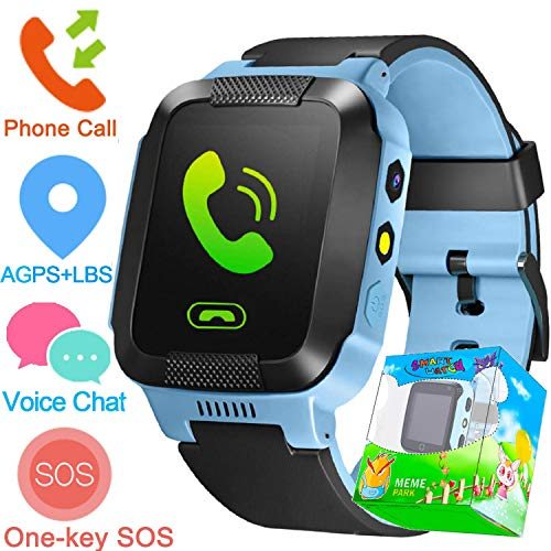 Kids Smartwatch with GPS Tracker,Game Smart Watch Phone for Boys Girls Camera SOS Activity Tracker Anti Lost Alarm Clock App Parents Control with iOS Android Summer Birthday Gift (Blue)
