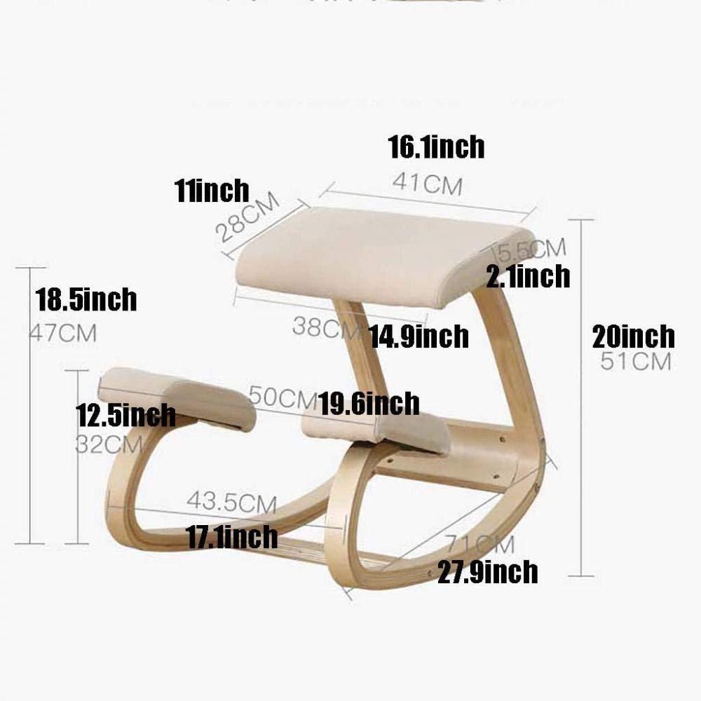 Ergonomisk knästol bibliotek pallar ryggkorrigeringsfunktion stol krage gungstol kontor korrekt hållning knästol (färg: vit) BLÅ