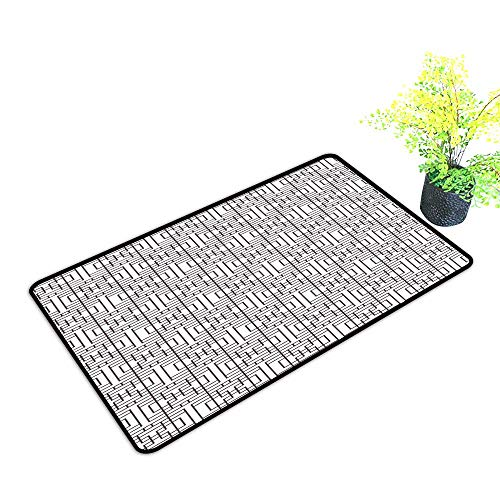 Bedroom Doormat Geometric Grid Pattern with Squares Rectangles Abstract Design Vintage Monochrome Image W31 xL47 Breathability Umber White