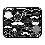 Custom Laptop Sleeve 13/15 Inch Ultrabook Zipper Briefcase Hat Glasses Moustache Print Portable Messenger Bag