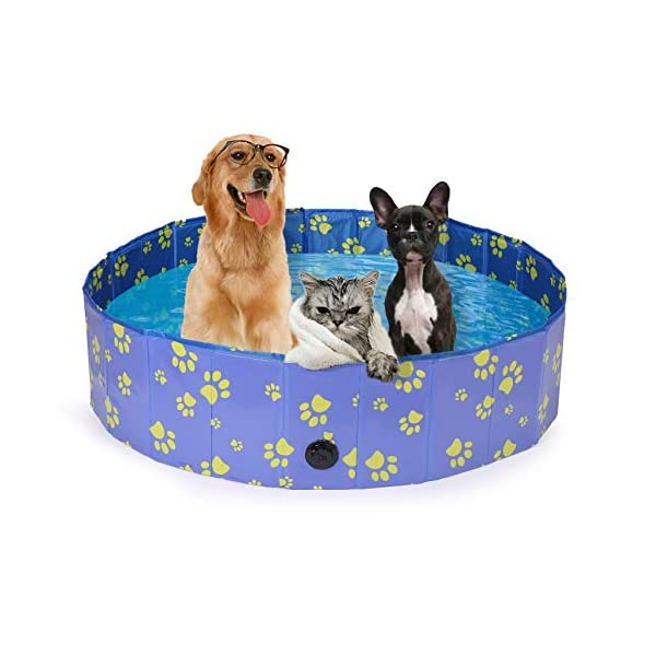 Pro Goleem Foldable Dog Pool Collapsible Pet Swimming Bathing Tub Kiddie Pools for Dogs Cats and Kids 4