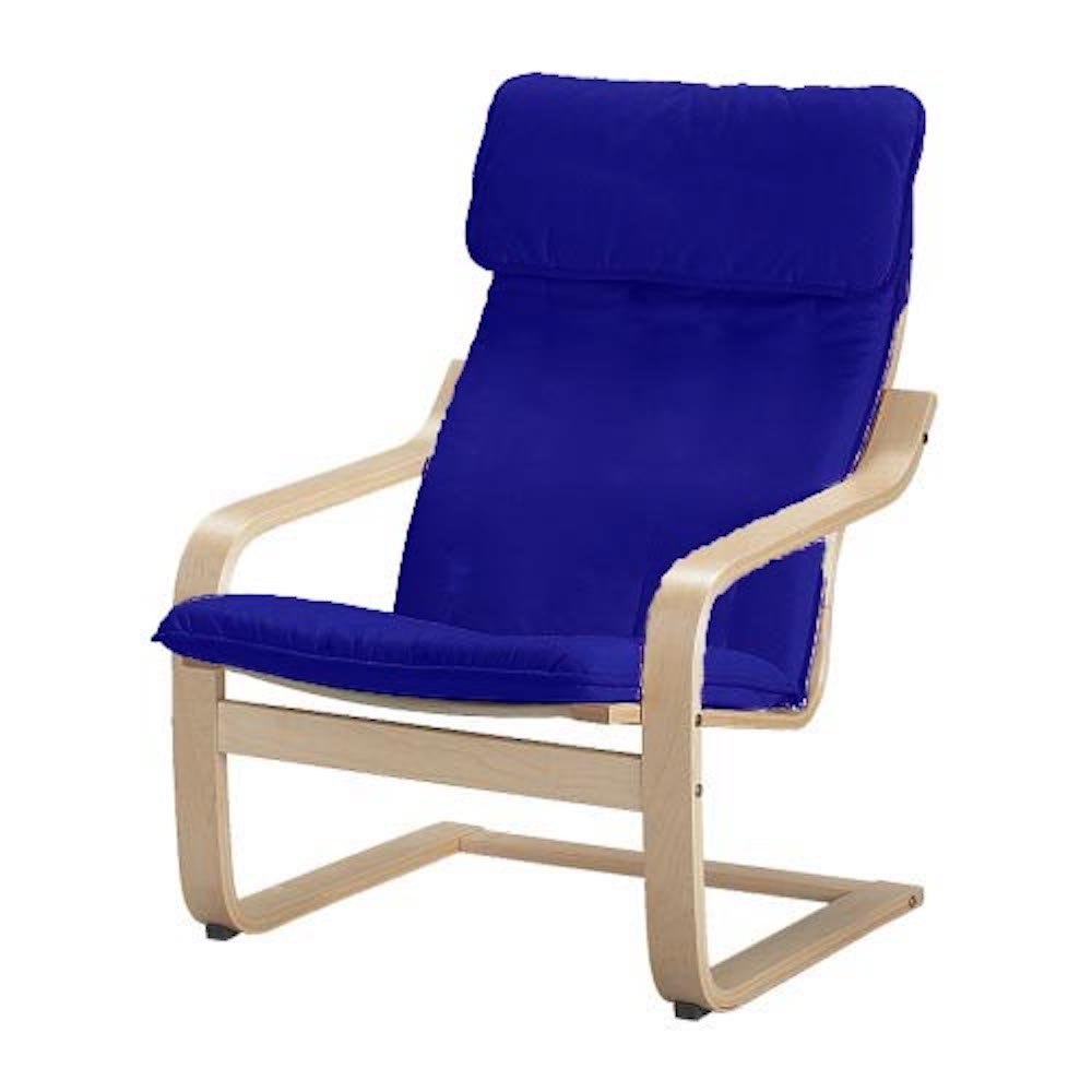 The Cotton Poang Chair Cover Replacement is Custom Made for IKEA Poang Armchair Slipcover Only. (Blue)