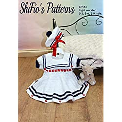 Crochet Pattern for Baby Sailor Dress & Beret, 3 Sizes, 0 to 3mths, 3 to 6mths, 6 to 9mths, CP184