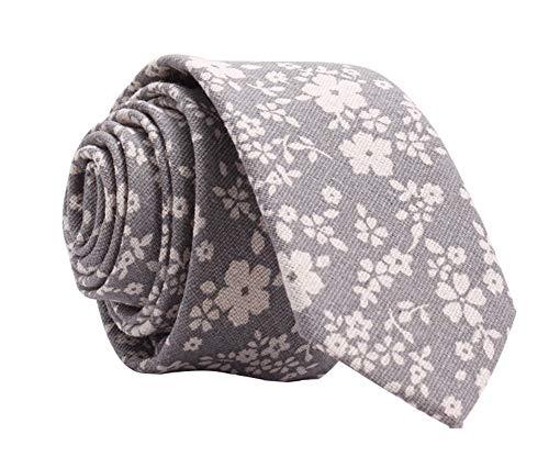 - Kebs Basic Mens Skinny Necktie Thin Tie for Men - White Floral, Grey